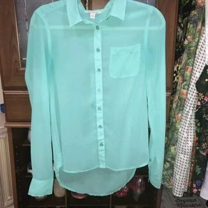American eagle green button down blouse size small